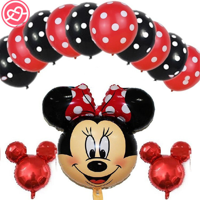 13pcs mickey minnie mouse foil balloons helium latex globos for wedding decoration birthday christmas party decorations - Mickey Mouse Christmas Party Decorations