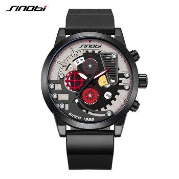 SINOBI 男性スポーツウォッチクリエイティブメンズ腕時計ギア大ダイヤル防水腕時計クロノグラフメンズ腕時計時計レロジオ Masculino|クォーツ時計|   -