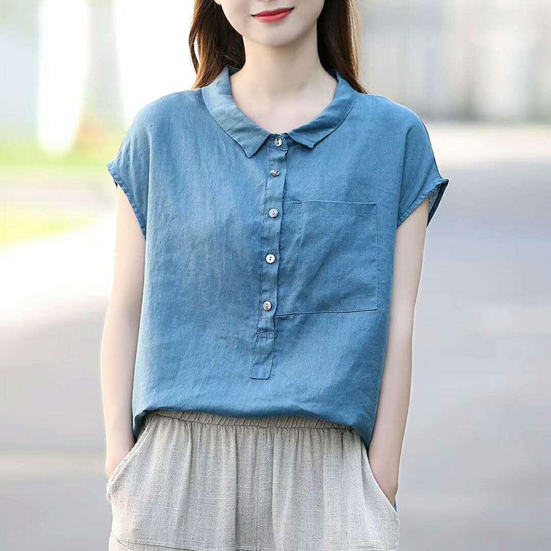 Summer Women Shirt Plus Size Peter Pan Collar Loose Casual Short Sleeve Shirts Solid Cotton Vintage Blouse Female Linen Top D117