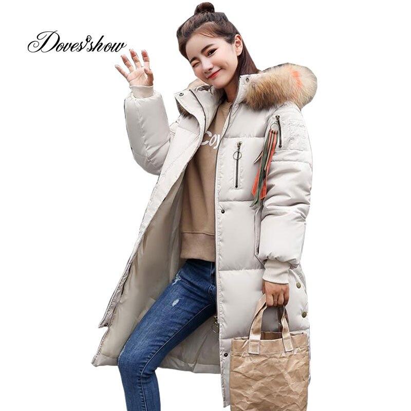 Hooded Fur Collar Winter Down Coat Jacket Long Warm Women Casaco Feminino Abrigos Mujer Invierno 2018 Parkas Outwear Coats Ru50