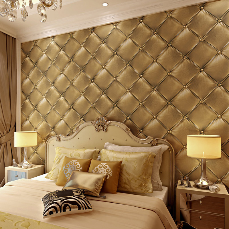 Modern luxury imitation leather wallpaper roll for walls for Living room paper