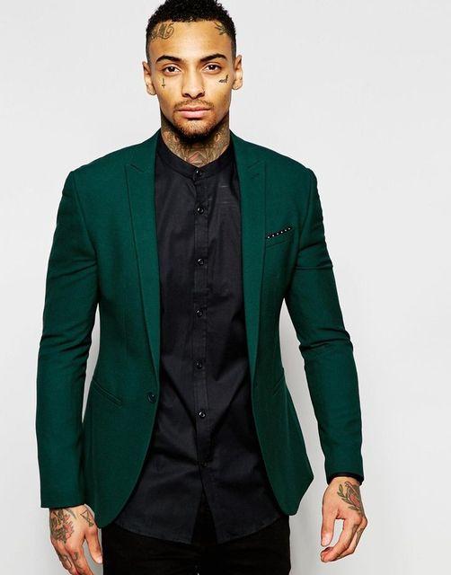 2017 Latest Coat Pant Design Dark Green Men Suit Slim Fit Blazer 2
