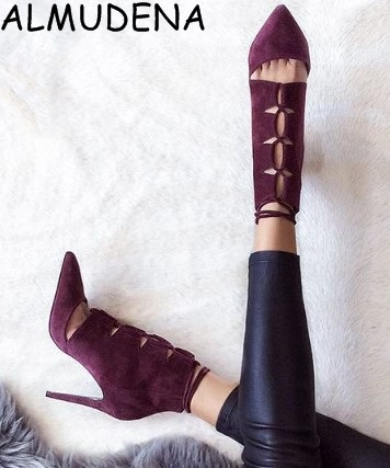 Lace Up Women Stiletto Rhinestone Ankle Booties Cut-outs Peep Toe Thin High Heels Boots Shoes Rome Style Sandals Boots Shoes hot stretch knitted peep toe ankle boots sexy women fashion booties cut outs slip on stiletto high heels botas mujer shoes woman