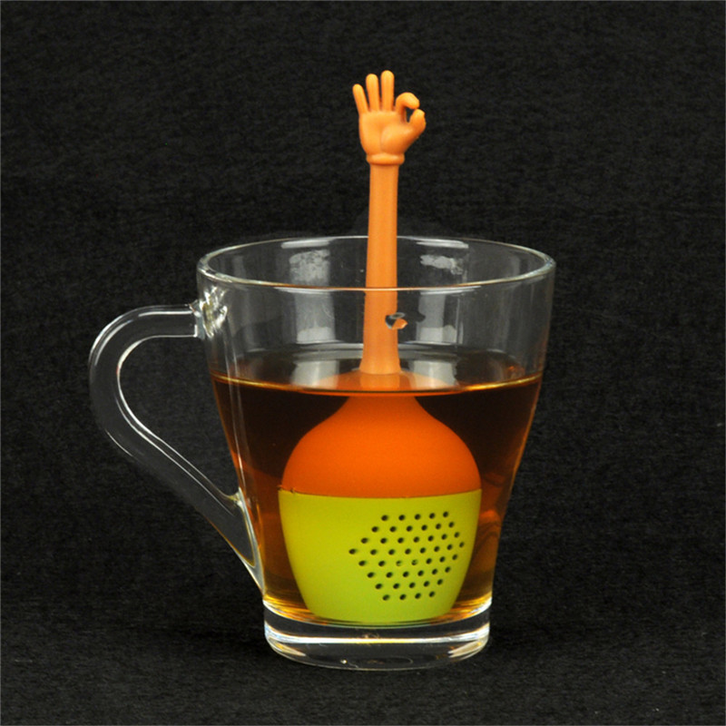 Funny Hand Gestures Tea Infuser Black Tea Strainer  Silicone Loose Leaf Herbal Spice Holder Tea Brewing Tools