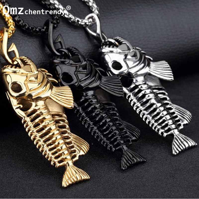 b898f0c3b4e4 Acero inoxidable Pesca Hollow negro oro joyería único hueso de pescado  colgante collar personalidad de la vendimia collar de cadena de caja