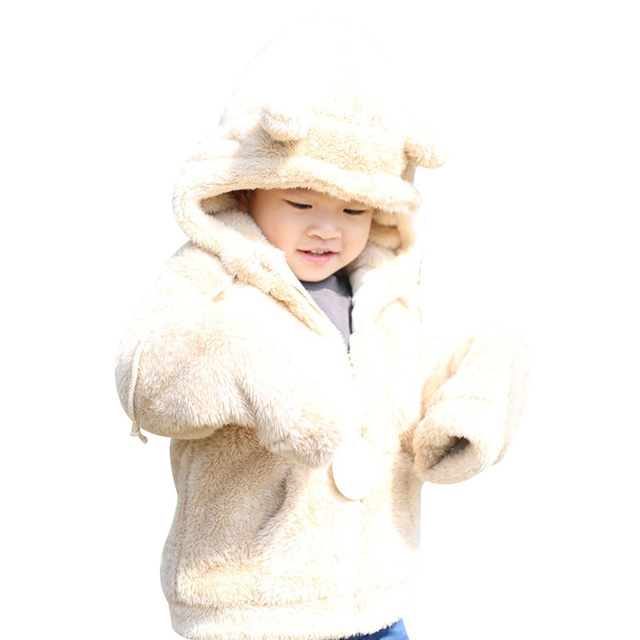 2017 New Baby Ultra-soft Plush Hairy Super Bear Ear Hooded Coat Autumn/Winter Clothes Children Warm Outerwear 2 Color