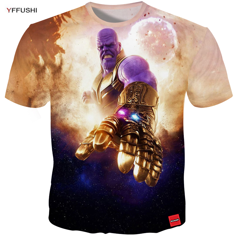 YFFUSHI Male 3d Tops Fashion Summer Evil Men tshirt Cool Cartton Tees men Character Print Plus Size Hip Hop Thine Tees
