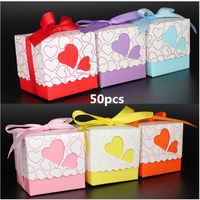 2016New 50pcs Candy Box Love Heart Gift Box Kraft Event Favor Gift Box Event Party Supplies