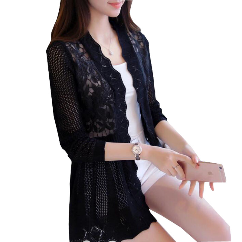2017 female spring and autumn lace cutout thin sweater cardigan cape outerwear medium-long ZY3132 girl