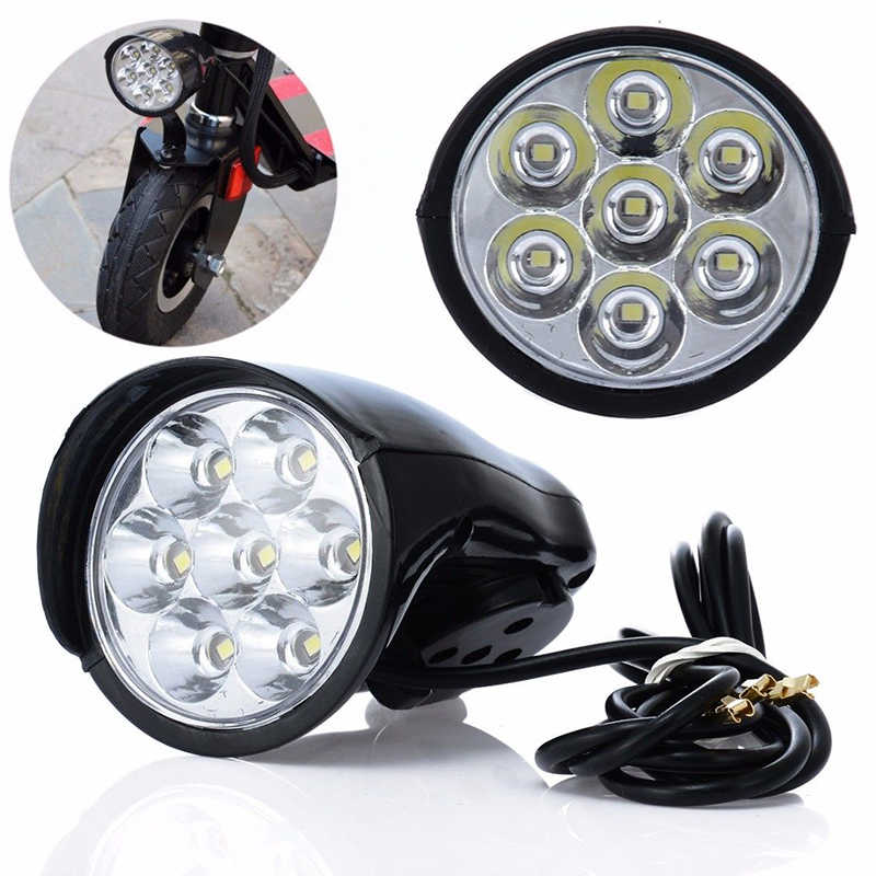 7LED 18W Bike Light Electric Scooter Lamp Headlight Lighting 100lm with Horn #D#