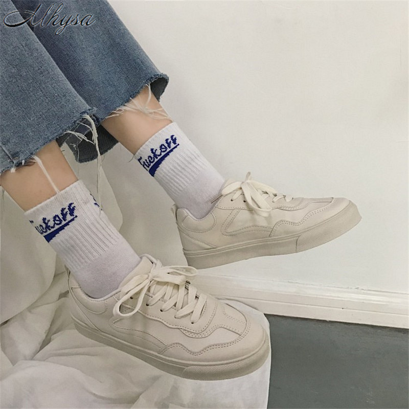 Mhysa 2019 New Spring Tenis Feminino Lace-up White Shoes Woman PU Leather Solid Color Female Shoes Casual Women Sneakers T133