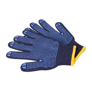 Image 3 - מקצועי עבודה כפפות GMG חיל הים כחול Polycotton פגז כחול PVC נקודות ציפוי עבודת בטיחות כפפות כותנה כפפות