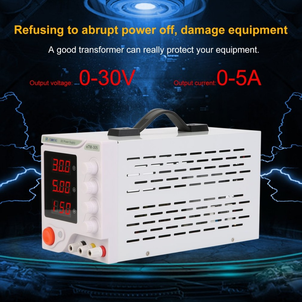 Newest 0-30V 0-5A High Precision Three Digit Display DC Power Supply Device For Workshops Laboratory ETM-305 EU PlugNewest 0-30V 0-5A High Precision Three Digit Display DC Power Supply Device For Workshops Laboratory ETM-305 EU Plug