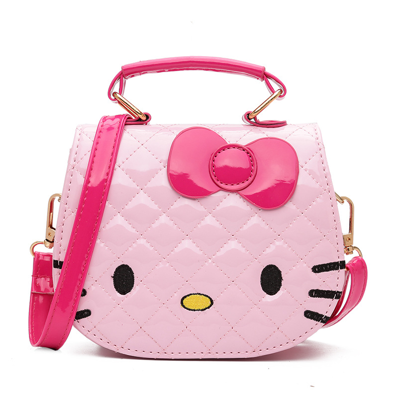 Baby Girls Cute Cat Bag Children Cartoon Bowknot Handbag Kids Tote Toys Girls Snacks Bag Mini Bag PU Leather Plush Backpack