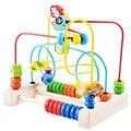 Multi-função de Aprendizagem Educação infantil De Madeira do bebê Caixa Redonda Bead Labirinto Roller Coaster Set Brinquedos Para O Presente Das Crianças Dos Miúdos ZS012
