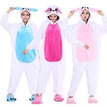 Funny Bunny Kigurumi Animal Character Flannel Adult Pajamas Rabbit Onesies  For Women Cosplay Sleepwear Stage Special bd7549f9a40c6