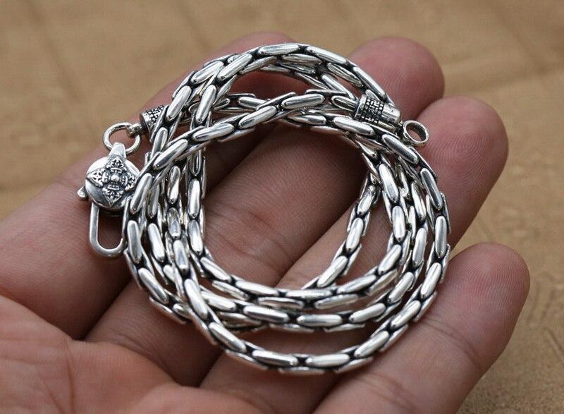 Pur solide en argent Sterling 925 Simple collier ras du cou hommes poli lien chaîne collier Vintage Thai argent hommes bijoux boîte gratuite - 4