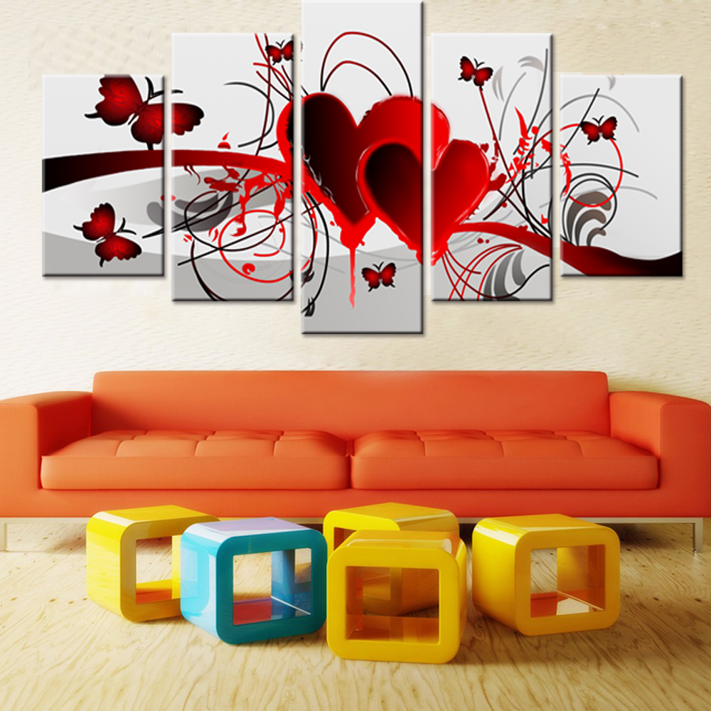 5 pièces/ensemble bricolage diamant peinture point de croix rouge amour coeur papillon bricolage diamant broderie mosaïque stickers muraux décor à la maison ZP047