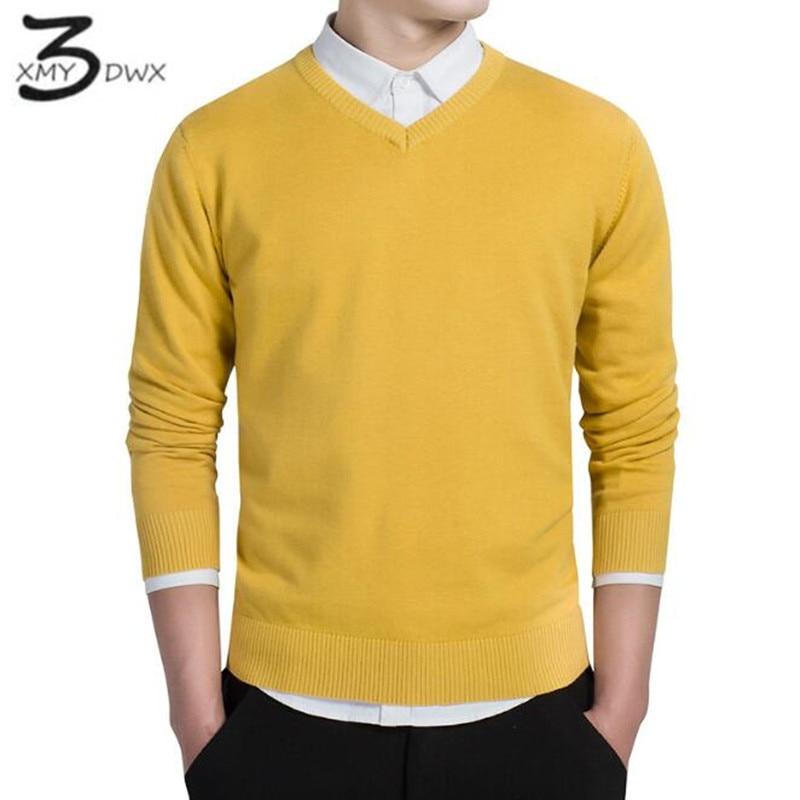XMY3DWX stylish men fall slim Fit v neck sweater Male premium brand leisure Set head knit