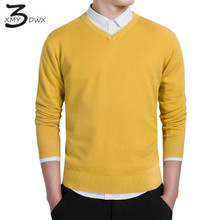 XMY3DWX stylish men fall slim Fit v-neck sweater/Male premium brand leisure Set head knit shirt/Large size knitted sweater XXXL