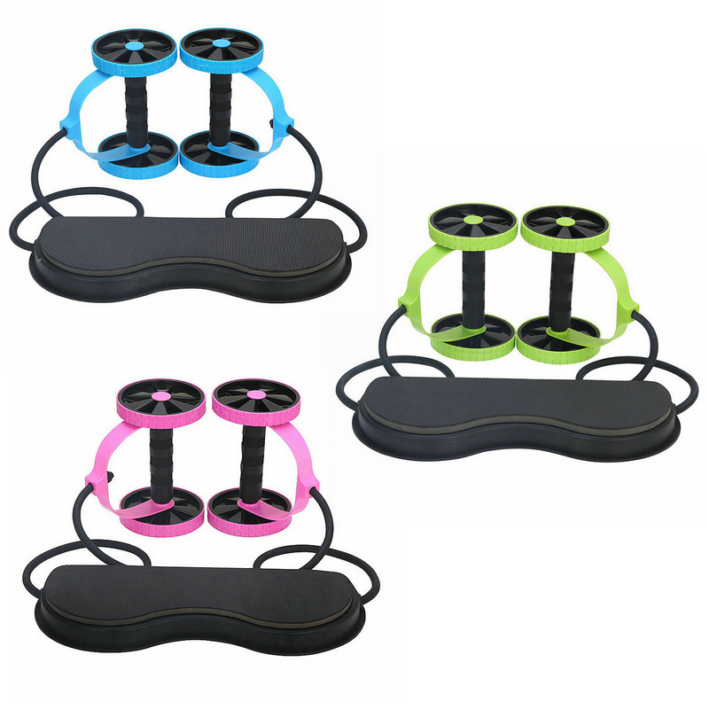 Multi-functional Abdominal Trainer Roller Wheel With Resistance Pull Rope Mat Arm Abdominal Muscle Exercise Fitness Equipment