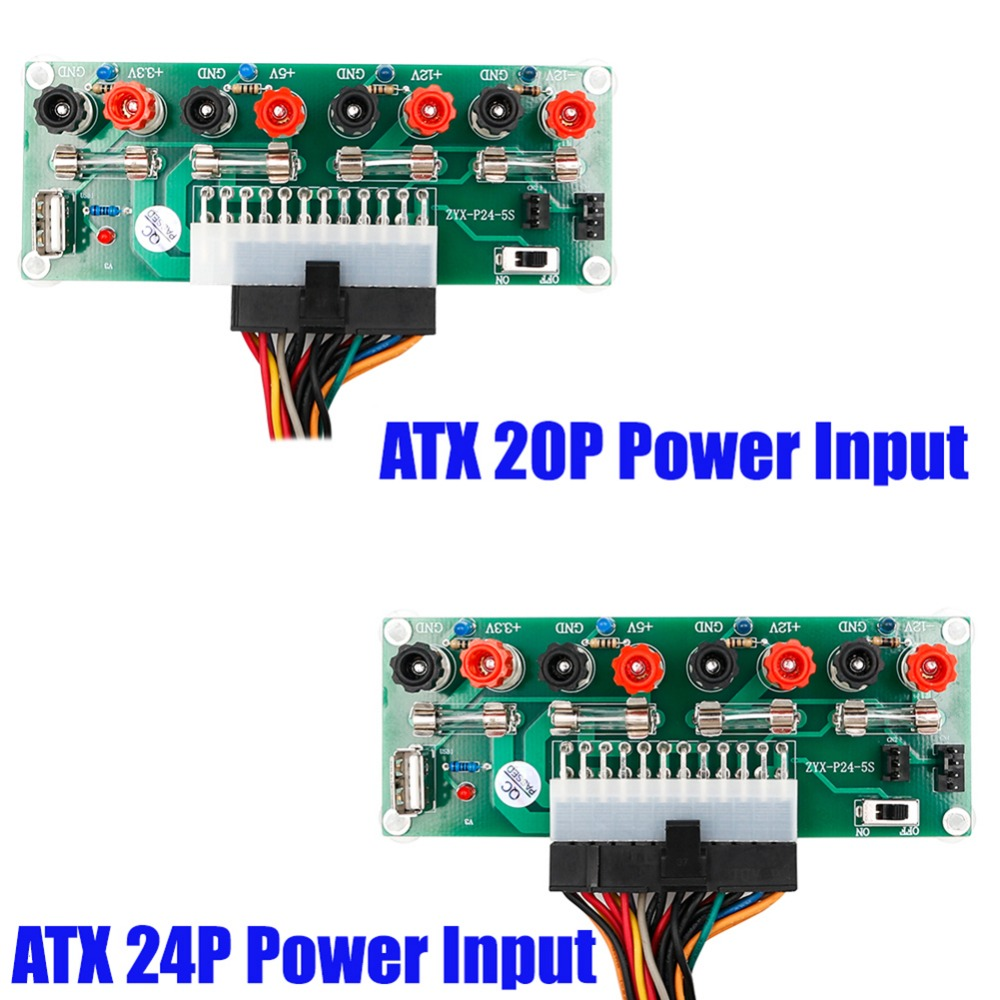 1Pcs Electric Circuit <font><b>24Pins</b></font> ATX Benchtop Computer Power Supply Breakout board module DC plug connector with USB 5V Port image