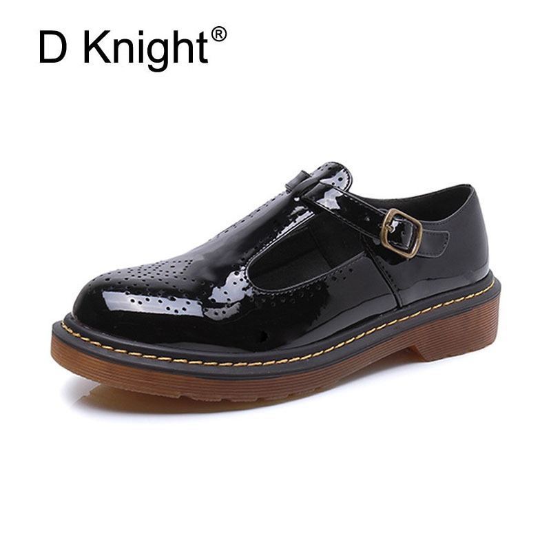Fashion Patent T-strap Women Flats Ladies Casual Round Toe Ankle Strap Flat Carved Brogue Oxford Shoes Size 34-43 Women Oxfords women flat sandals fashion ladies pointed toe flats shoes womens high quality ankle strap shoes leisure shoes size 34 43 pa00290