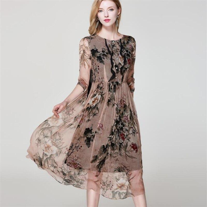 Женская на весенний сезон плюс Размеры 100% шелк до середины икры Платья Летние женские ботфорты Размеры d хеджирования шелковое платье леди