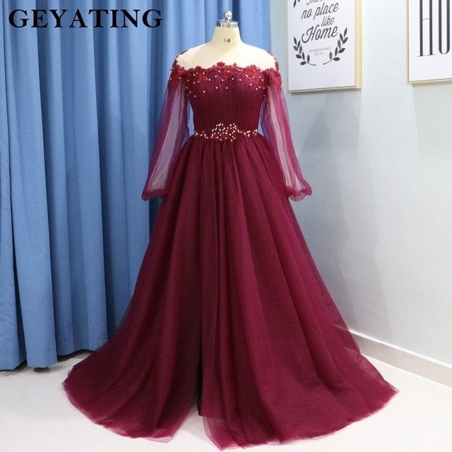 15ca93f295 Elegant Burgundy Long Sleeves Prom Dresses 2019 Off Shoulder Beaded Crystal  High Side Slit Tulle Formal