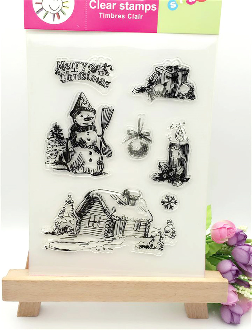 christmas snowman and gift Design Transparent Stamp DIY Scrapbooking for wedding gifr christmas gift paper card for kids fun