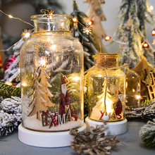 Christmas Lighting Decoration Snow Scene Night Light Reindeer Christmas Tree Snowball Festive Home Decorations Glass Bottles festive products led lantern flashing light ice fence light snow decorative light christmas lights christmas tree pendant