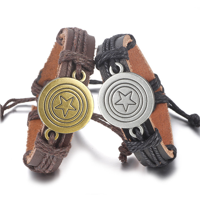 Spinner Punk Captain America Genuine Leather Bracelet Handmade Charm Rope Survival Bangle Women Men Jewelry