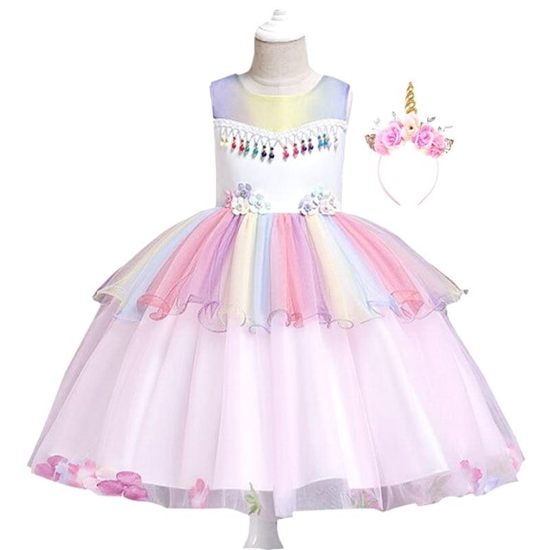2019 Rainbow Unicorn Costumes Disfraz Unicornio Dress with Hair Band Princess Girls Halloween Unicorn Party Dress Kids Costume in Girls Costumes from Novelty Special Use