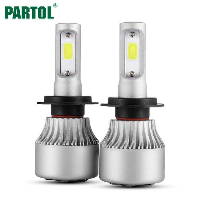 Partol S2 COB H7 LED Headlight 72W 8000LM Car LED H11 H1 H3 Headlights Bulb Headlamp Fog Light 12V Auto Replacement Parts 6500K