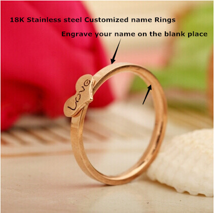 Customized Wedding Rings Rose Gold Plated Stainless Steel Heart For Men Women Engrave Name