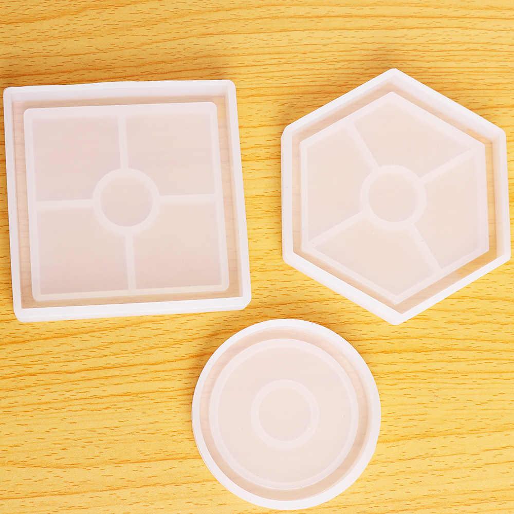 1 قطعة قالب من السيليكون DIY كأس حصيرة سادة اليدوية قوالب الحرف الايبوكسي الراتنج هندسية شكل سداسية مربع جولة الحرارية العزل