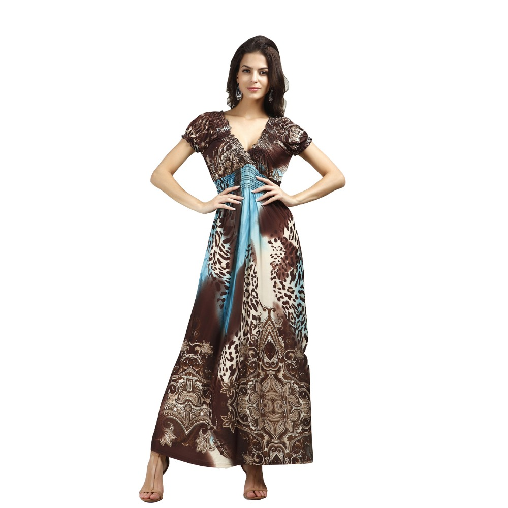 UTMEON Fashion Summer Ankle-Length Leopard Nepal Large Size Ice Silk Beach Long Dress