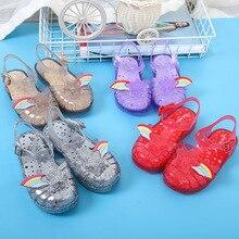 Mini Melissa 2019 Original 1:1 Rome Girls Sandals Summer New Baby Shoes Rainbow Princess Non-slip