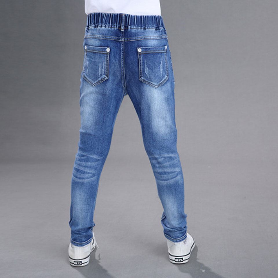 Hot Sale Boys Jeans 2018 Spring Boys Jeans Kids Pants Blue Color Elastic Waist Children's Denim Trousers Kids Casual Pants 2017 new designer korea men s jeans slim fit classic denim jeans pants straight trousers leg blue big size 30 34