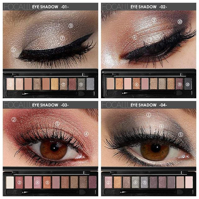 FOCALLURE New Pro 10 Colors Set Women Waterproof Makeup Eyeshadow Palette Eyebrow Eye Shadow Powder Cosmetic with Brush 1