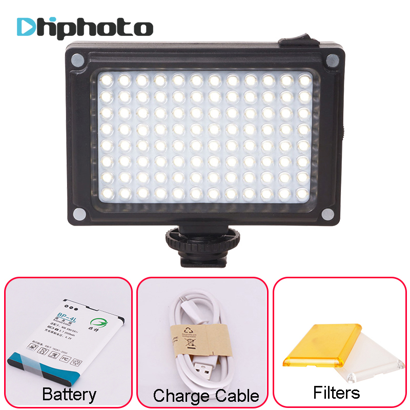 Ulanzi 96 LED Video Light with Battery Filters Hotshoe Photo Lighting on Camera for Canon Nikon Sony Camcorder DV DSLR hot sale dof hvr d160 5600k 160 leds bandoor filters ball mount led on camera video light for dv camcorder and dslr camera