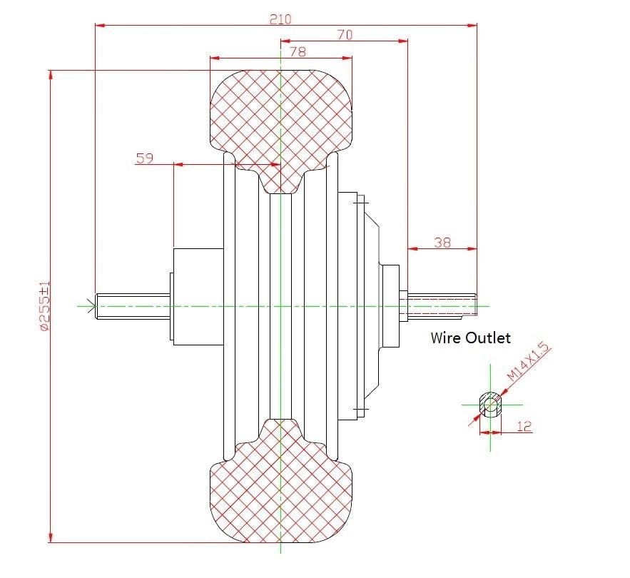 Drawing of 10 inch hub motor