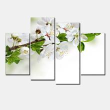 New Modular Pictures Unframed 4 Panel White Pear Blossom Flower Larage HD Print modular paintings Modern Oil modular paintings F