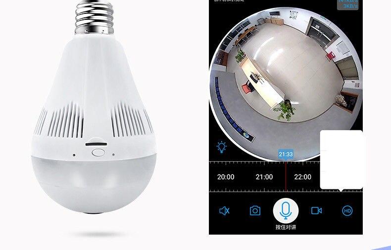 LED inalámbrico 960P 360 cámara domo Wi fi FishEye Mini CCTV VR Cámara bombilla - 3