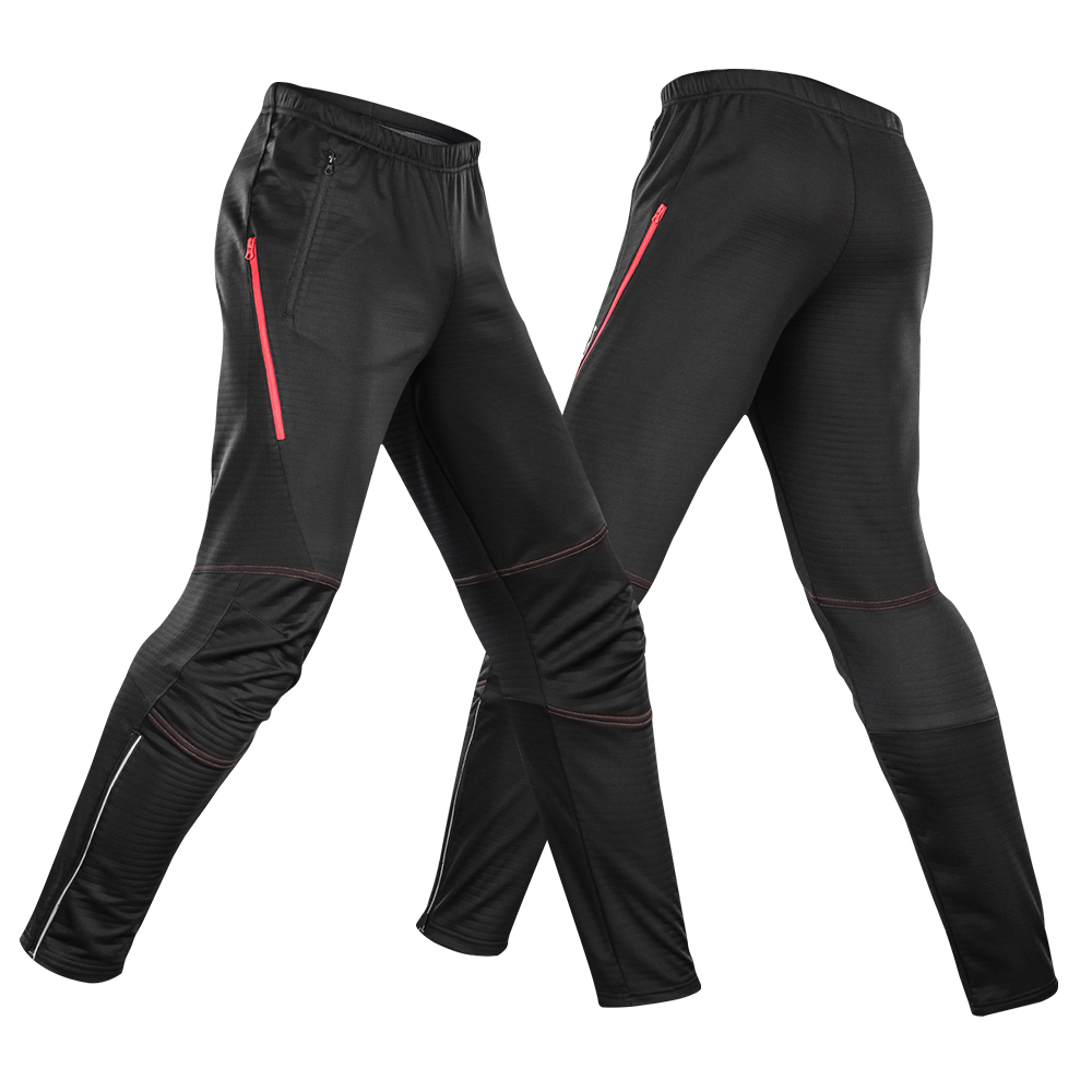 Lixada Men's Cycling Pants Thermal Fleece Cycling Pants for Men Windproof Winter Bike Riding Running Sports Pants Trousers