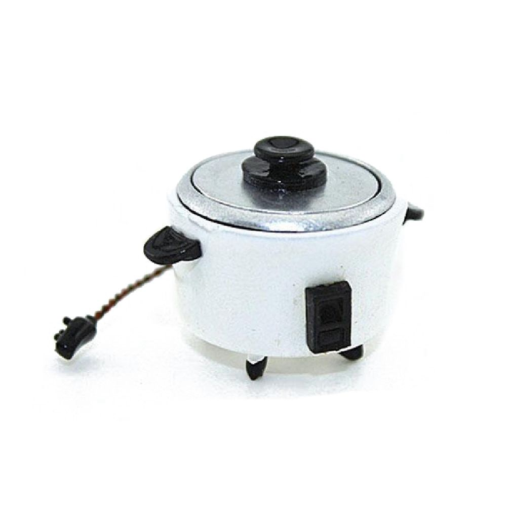 1:12 Dollhouse Miniature Kitchen Scene Props To Play Metal Rice Cooker Pocket Model