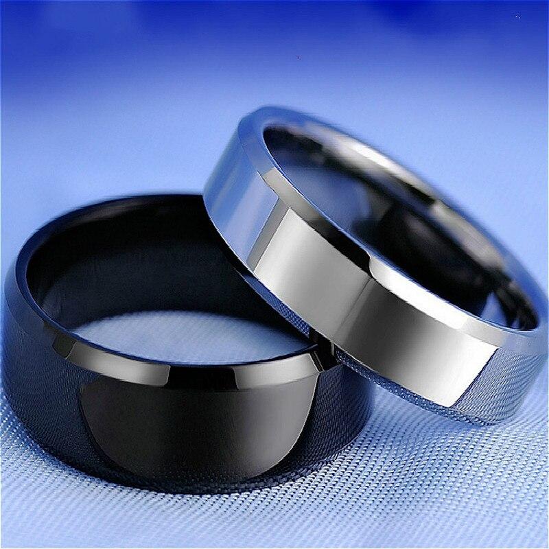 Anel de dedo de aço titanium preto elegante do brilho da forma para anéis chapeados prata meninos casal anéis da forma