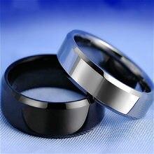 Anel de dedo de aço titanium preto elegante do brilho da forma para anéis chapeados anéis da forma do casal dos meninos