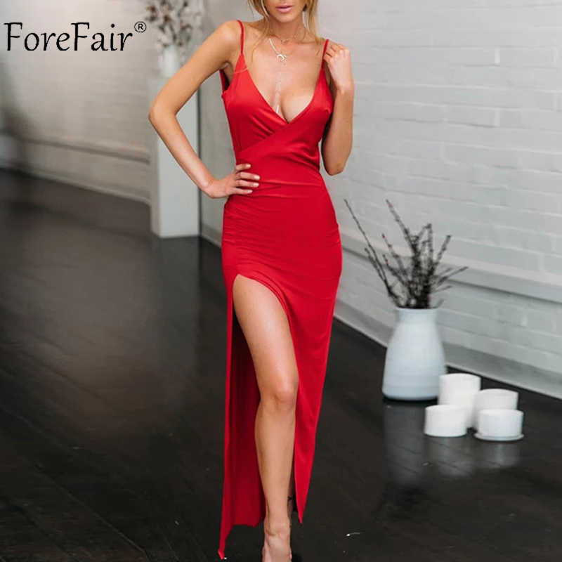 2ad53e44a978 Forefair Long Party Dress Sexy Spaghetti Strap Summer V Neck Backless High  Slit Evening Clubwear Trend