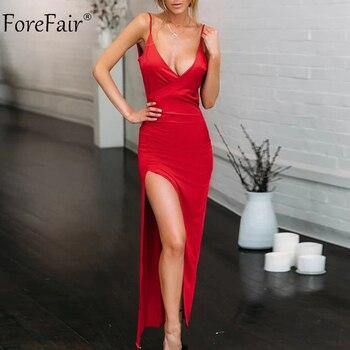 db73c7104 Forefair largo vestido de fiesta Sexy espaguetis correa de cuello en V sin  respaldo hendidura alta noche Clubwear tendencia Maxi vestido de las mujeres